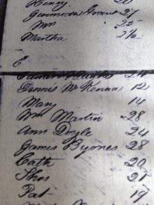 The ship's manifest for the Adonis